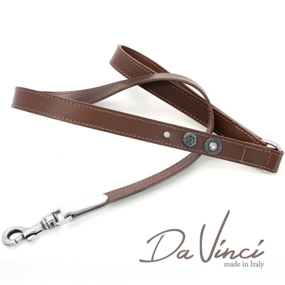 Da Vinci Ginevra:茶 大特価!! DV3.5BR 犬用リード 全長:約110cm 幅:2.5cm お洒落な ダ 倉 かわいい dv91058 イタリア製 ヴィンチ