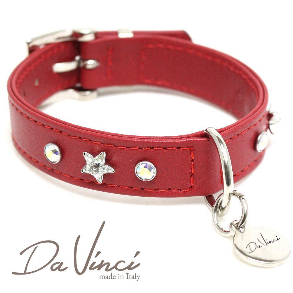 Da Vinci カラー Caterina:赤 DV4.2.30R 小型犬用首輪・首周り実寸:約20~25cm お洒落な イタリア製 かわいい ダ・ヴィンチ dv92215