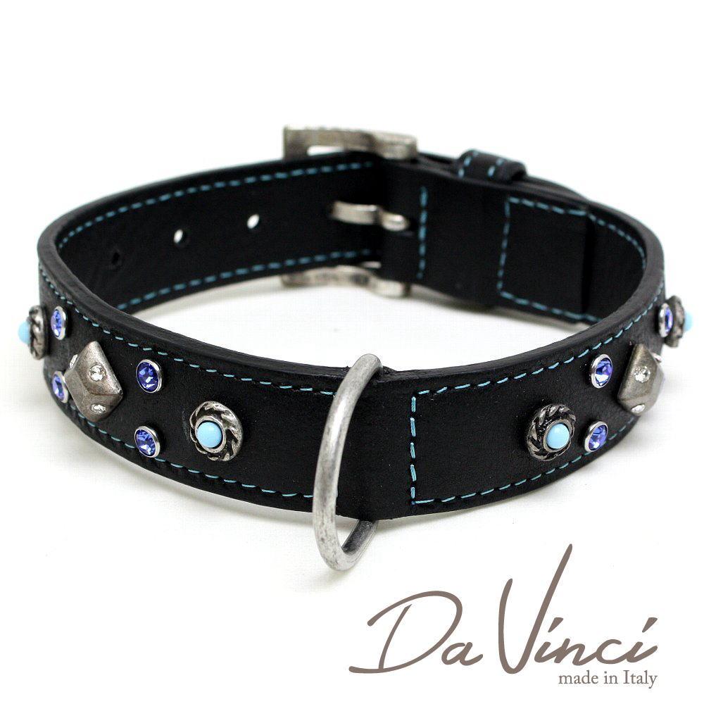 Da Vinci /カラー Maddalena:黒/DV17.1.45B 【中型犬用首輪・首周り実寸:約30~38cm/お洒落な/イタリア製/かわいい/ダ・ヴィンチ】 dv94714