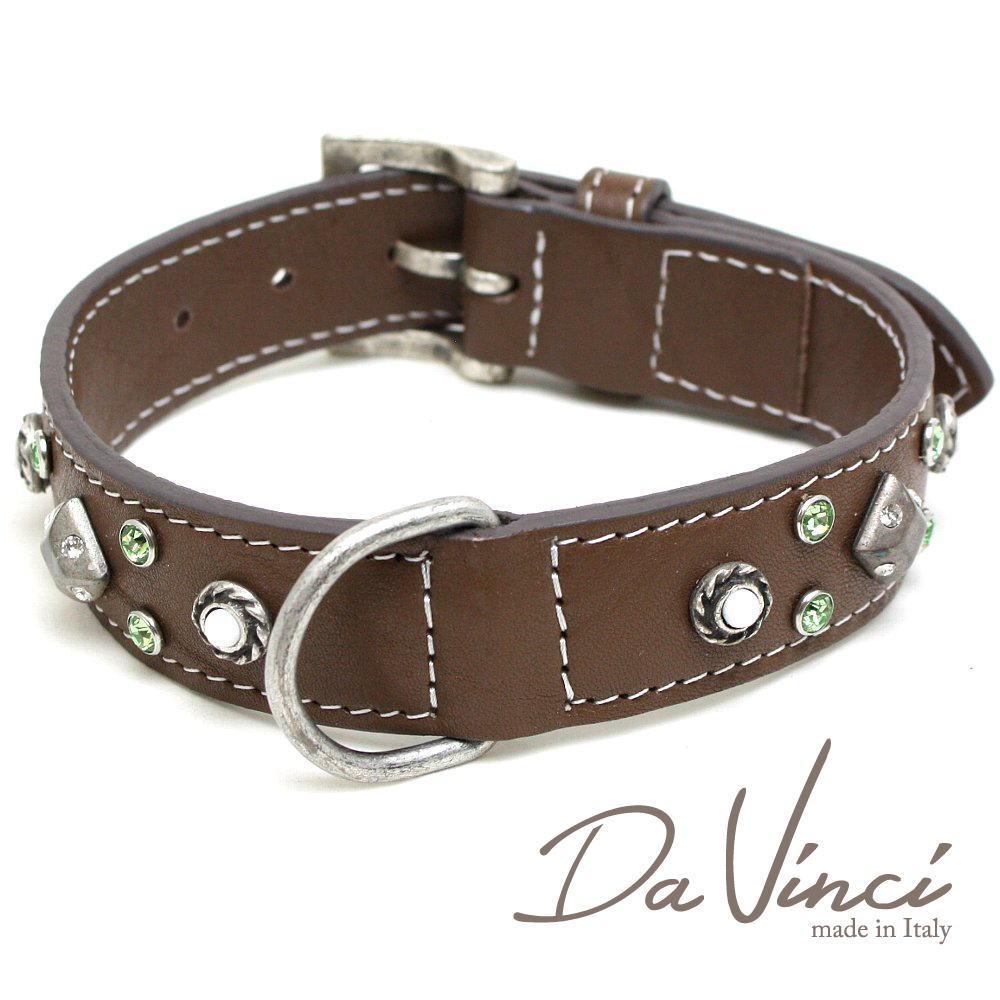 Da Vinci カラー Maddalena:茶 DV17.1.45BR 中型犬用首輪・首周り実寸:約30~38cm お洒落な イタリア製 かわいい ダ・ヴィンチ dv94721