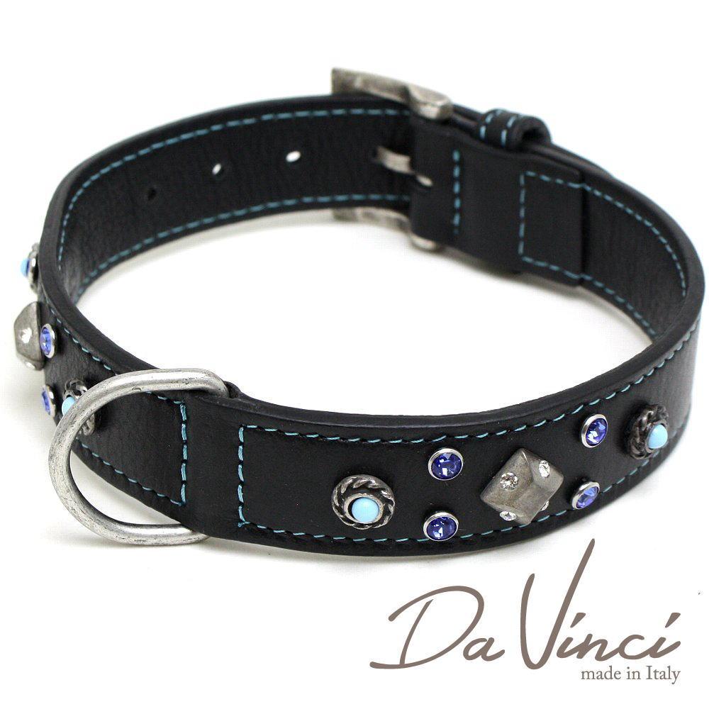 半額 Da Vinci カラー Maddalena:黒 DV17.1.50B 大型犬用首輪 5☆好評 首周り実寸:約34~42cm ダ かわいい ヴィンチ イタリア製 お洒落な dv94745