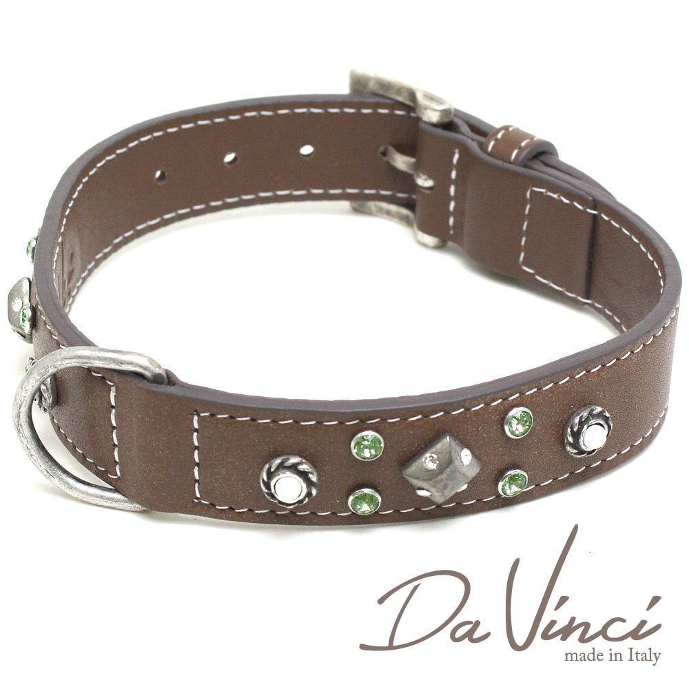 Da Vinci カラー Maddalena:茶 DV17.1.50BR 大型犬用首輪・首周り実寸:約34~42cm お洒落な イタリア製 かわいい ダ・ヴィンチ dv94752