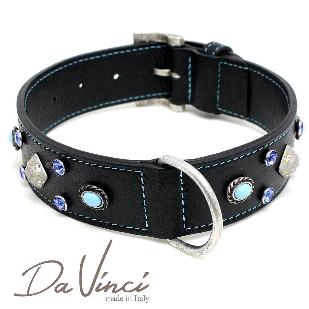 Da Vinci カラー Maddalena:黒 DV17.2.55B 【大型犬用首輪・首周り実寸:約38~48cm お洒落な イタリア製 かわいい ダ・ヴィンチ】 dv94776