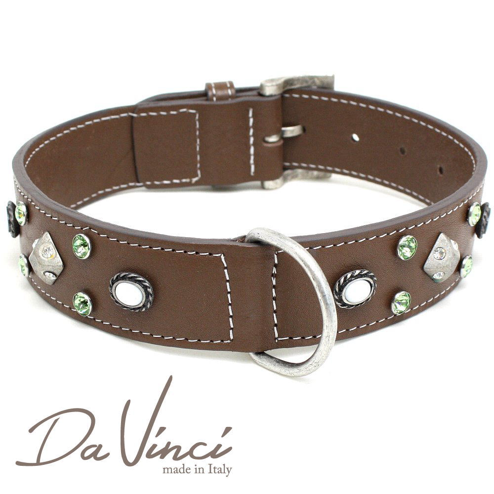 Da Vinci カラー Maddalena:茶 DV17.2.60BR 大型犬用首輪・首周り実寸:約42~52cm お洒落な イタリア製 かわいい ダ・ヴィンチ dv94813