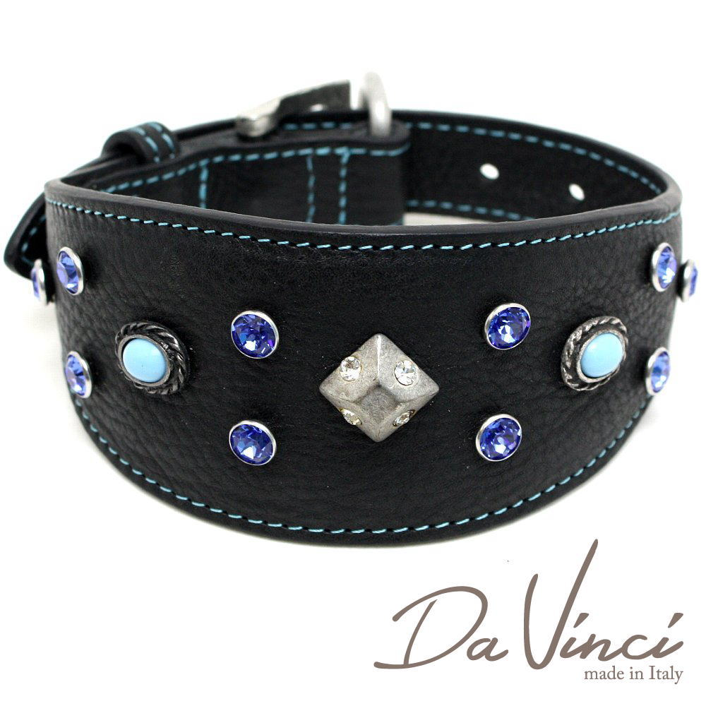 Da Vinci カラー Maddalena:黒 DV17.3.40B 【中型犬用首輪・首周り実寸:約25~33cm お洒落な イタリア製 かわいい ダ・ヴィンチ】 dv97081