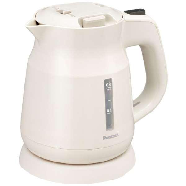 ピーコック魔法瓶 電気ケトル0.8L ホワイト(内祝い 結婚内祝い 出産内祝い 景品 結婚祝い 引き出物 ギフト お返し キッチン家電)(キャッシュレス5%還元)