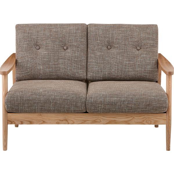 2人掛けソファ(ブラウン) 幅127cm(メーカー直送 天然木 木製 椅子 イス いす ソファー インテリア 家具 ナチュラル シンプル 北欧 オシャレ ファブリック 布張り 人気 AZUMAYA 東谷 新生活応援)(キャッシュレス5%還元)