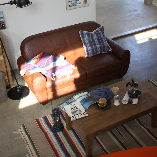 ミラードソフトレザーソファ(ブラウン)2人掛け 幅155cm(メーカー直送 二人掛け 椅子 ソファー リビング インテリア 家具 アメリカン 北欧 ヴィンテージ風 オシャレ 人気 東谷 AZUMAYA 新生活応援)(キャッシュレス5%還元)