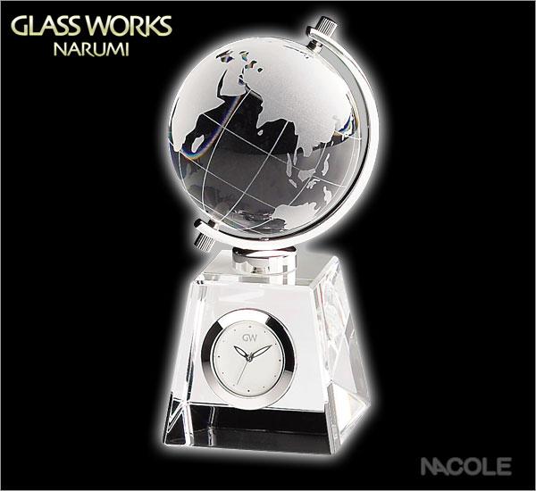 グラスワークスナルミ 置時計 グローブ クロック)(内祝い 結婚祝い ギフト 出産内祝い 新築祝い 引き出物 新生活応援)(キャッシュレス5%還元)