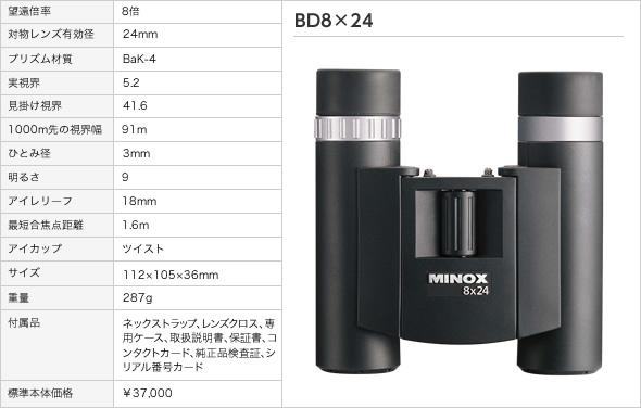 双眼鏡 ミノックス BD8×24(アウトドア用品 アウトドアグッズ キャンプ用品 便利グッズ 精密機器 正規品)