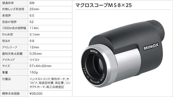 マクロスコープ ミノックス マクロスコープMS8×25(アウトドア用品 アウトドアグッズ キャンプ用品 便利グッズ 精密機器 正規品)