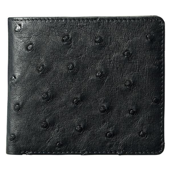 紳士用オーストリッチ財布/ブラック S-NO8250040BK(日本製 財布(メンズ))(内祝い 結婚内祝い 出産内祝い 新築祝い 就職祝い 結婚祝い お返し)(キャッシュレス5%還元)