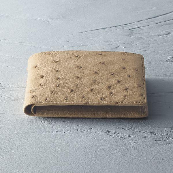 紳士用オーストリッチ財布/ベージュ S-NO8250040BE(日本製 財布(メンズ))(内祝い 結婚内祝い 出産内祝い 新築祝い 就職祝い 結婚祝い お返し)(キャッシュレス5%還元)