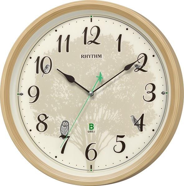 リズム時計 日本野鳥の会 四季の野鳥 報時掛時計409 木目仕上げ(文字板アイボリー) オシャレ インテリアに