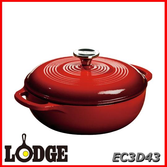 ■送料無料■LODGE ロッジ エナメルダッチオーブン 3クォート EC3D43アウトドア キッチン 料理 鍋