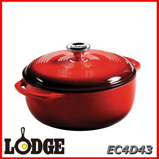 ■送料無料■LODGE ロッジ エナメルダッチオーブン 4.6クォート EC4D43アウトドア キッチン 料理 鍋