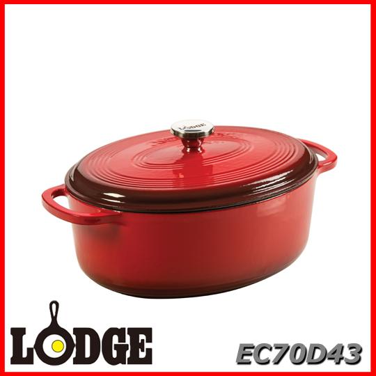 ■送料無料■LODGE ロッジ エナメルオーバルダッチオーブン EC70D43 7クォート レッドアウトドア キッチン 料理 鍋