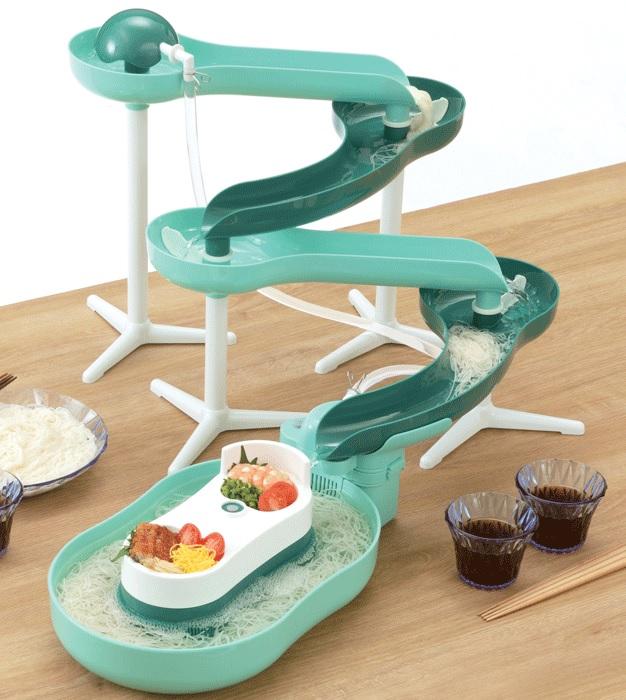 お子様にも大人気です♪ パール金属 流麺スライダーそうめん流し器(ミントグリーン) D-6669