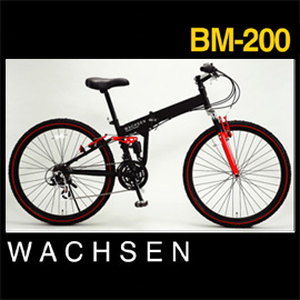 WACHSEN VAXen BM-200 folding mountain bike bicycle 18-speed black × yellow black x red with light/lock/fender