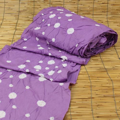 有松鳴海絞 しぼり浴衣反物「紫地に水玉」 ≪一級和裁技能士の国内手縫いお仕立て&帯プレゼント≫ 浴衣 ゆかた 伝統工芸品 たんもの
