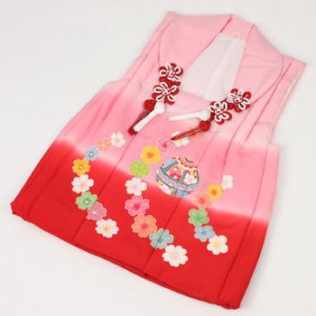 七五三 着物  三歳 3歳 正絹被布コート((ピンク赤)まりと花) 七五三の着物にぴったり♪