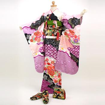 【レンタル】ひなまつり 衣装 【七五三着物レンタル7歳】「紫・ピンク・黒の絞り柄」七五三 お正月雛祭り ひなまつり 着物 七五三 四つ身 着物フルセット!kimono 753〔消費税込み〕