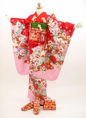 【最大1000円OFFクーポン】【レンタル】ひなまつり 衣装 【七五三 着物 レンタル 7歳】七五三 四つ身 お正月雛祭り 着物 着物フルセット!「赤地につづみ、鞠、花、桜」 753 kimono しちごさん きもの 赤 金 花柄 往復〔送料無料〕