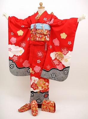 【最大1000円OFFクーポン】【レンタル】ひなまつり 衣装 【七五三 着物 レンタル 7歳】七五三 四つ身 お正月雛祭り 着物 着物フルセット!「赤地のちりめん風に、金糸の刺繍 鞠 花」 753 kimono しちごさん きもの 赤 ちりめん 金 花柄 往復〔送料無料〕