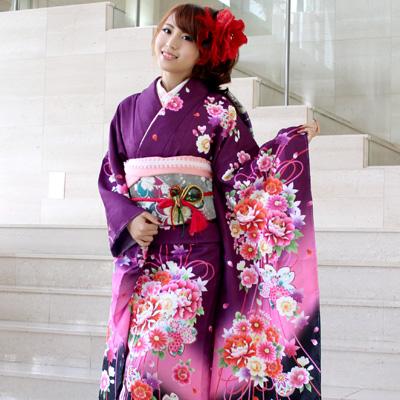 【レンタル】振袖 レンタル セット 20点フルセット「紫地にピンクぼかし刺繍入り赤ピンク牡丹と菊桜」 2月~12月上旬 レトロ 成人式から結婚式やフォーマルまで 着物 kimono フリソデ ふりそで rental れんたる【fy16REN07】〔消費税込み〕