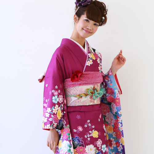 【レンタル】振袖 レンタル セット 20点フルセット 「紫 黒 桜 バラ モダン」 2月~12月上旬 成人式から結婚式やフォーマルまで。【fy16REN07】〔消費税込み〕
