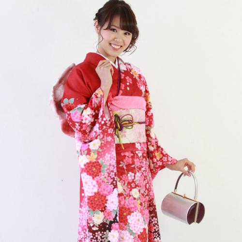 【レンタル】振袖 レンタル セット 20点フルセット 「赤 黒 牡丹 桜」 2月~12月上旬 成人式から結婚式やフォーマルまで。【fy16REN07】〔消費税込み〕