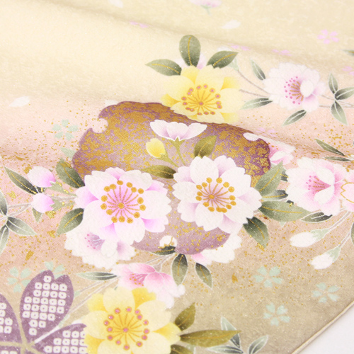レンタル 正絹 振袖 レンタル 成人式 セット 20点フルセットクリーム色 桜 鹿の子 雪輪 成人式から結婚式やフォーマルまで 着物 kimono フリソデ ふりそで rental れんたる せいじんしき セイジンシキ着物レンタル 貸衣装〔消費税込み〕dChtrxQs
