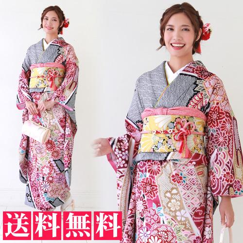 【レンタル】振袖 レンタル 成人式 セット 20点フルセット 「黒地に疋田柄と牡丹・桜・菊・藤」2月~12月上旬 成人式から結婚式やフォーマルまで。 着物 kimono フリソデ ふりそで rental れんたる 着物レンタル 貸衣装【fy16REN07】