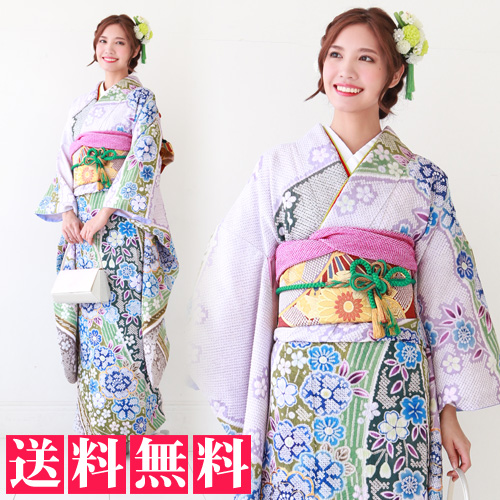 【レンタル】振袖 レンタル セット 20点フルセット 「薄紫地に青ぼかし八重桜 疋田柄」2月~12月上旬 成人式から結婚式やフォーマルまで。 着物 kimono フリソデ ふりそで rental れんたる 着物レンタル 貸衣装【fy16REN07】