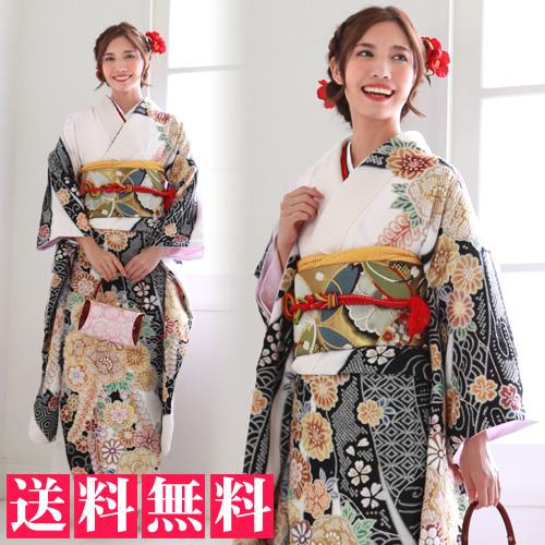 【レンタル】振袖 レンタル セット 20点フルセット 「白地に疋田柄と牡丹・桜・菊・藤」2月~12月上旬 成人式から結婚式やフォーマルまで。 着物 kimono フリソデ ふりそで rental れんたる 着物レンタル 貸衣装【fy16REN07】