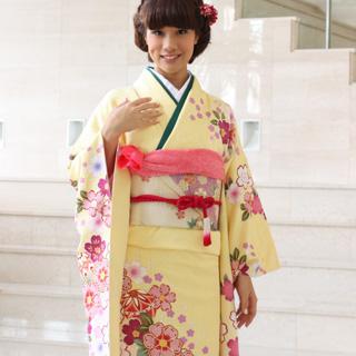 【レンタル】振袖 レンタル 成人式 セット正絹京友禅 20点フルセット「黄色にピンクぼかし絞り調赤と紫の桜」成人式から結婚式やフォーマルまで 着物 kimono フリソデ ふりそで rental れんたる せいじんしき セイジンシキ バッグ bag