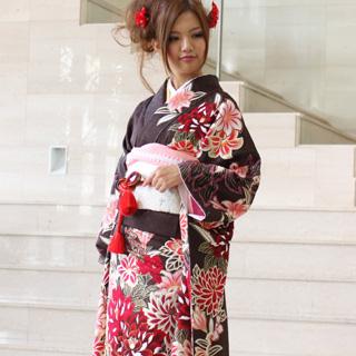 【レンタル】振袖 レンタル 成人式 セット正絹京友禅 20点フルセット「茶色地にベージュぼかし赤ピンク牡丹と百合の花」成人式から結婚式やフォーマルまで 着物 kimono フリソデ ふりそで rental れんたる せいじんしき セイジンシキ バッグ bag