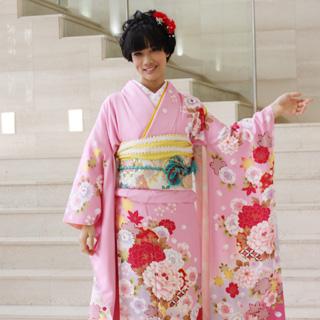 【レンタル】振袖 レンタル 成人式 セット正絹京友禅 20点フルセット「ピンク地にピンク赤牡丹と水色ぼかし桜」成人式から結婚式やフォーマルまで 着物 kimono フリソデ ふりそで rental れんたる せいじんしき セイジンシキ バッグ bag〔消費税込み〕