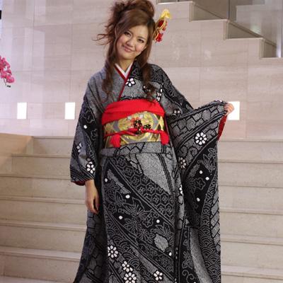 【レンタル】振袖 レンタル 絞り 成人式 セット20点フルセット「黒 ブラック グレー 花柄」成人式から結婚式やフォーマルまで 着物 kimono フリソデ ふりそで rental れんたる せいじんしき セイジンシキ バッグ bag