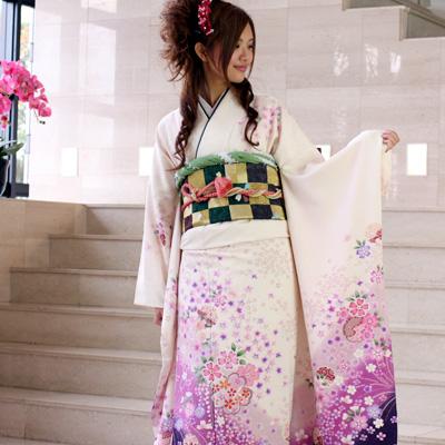 【最大1000円OFFクーポン】【レンタル】振袖 レンタル 成人式 セット20点フルセット「白 紫 桜 ホワイト パープル」成人式から結婚式やフォーマルまで 着物 kimono フリソデ ふりそで rental れんたる せいじんしき セイジンシキ バッグ bag〔消費税込み〕