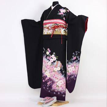 【最大1000円OFFクーポン】【レンタル】振袖 レンタル 成人式 セット20点フルセット「黒 ブラック 紫 パープル 桜 小槌」成人式から結婚式やフォーマルまで 着物 kimono フリソデ ふりそで rental れんたる せいじんしき セイジンシキ バッグ bag〔消費税込み〕