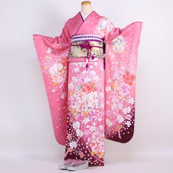 【レンタル】振袖 レンタル 成人式 セット20点フルセット「ピンク 蘭 菊 桜」成人式から結婚式やフォーマルまで 着物 kimono フリソデ ふりそで rental れんたる せいじんしき セイジンシキ バッグ bag〔消費税込み〕