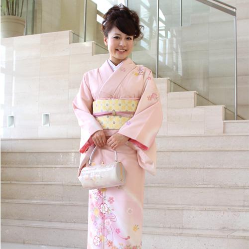 【レンタル】訪問着 レンタル 訪問着+和装小物 フルセットレンタル 安い ピンク 桜 梅卒業式 式典 祝賀会 パーティー 結婚式 袋帯 着物 kimono rental