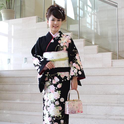【最大1000円OFFクーポン】【レンタル】訪問着 レンタル za2 訪問着+和装小物 フルセットレンタル 安い 黒 薔薇と桜卒業式 祝賀会 式典 結婚式 パーティー 袋帯 着物 kimono rental〔消費税込み〕
