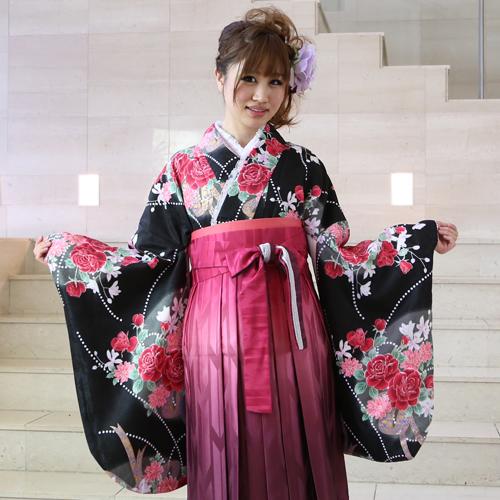 【レンタル】 卒業式 袴 レンタル 女 袴セット 卒業式袴セット2尺袖着物&袴 フルセットレンタル 安い
