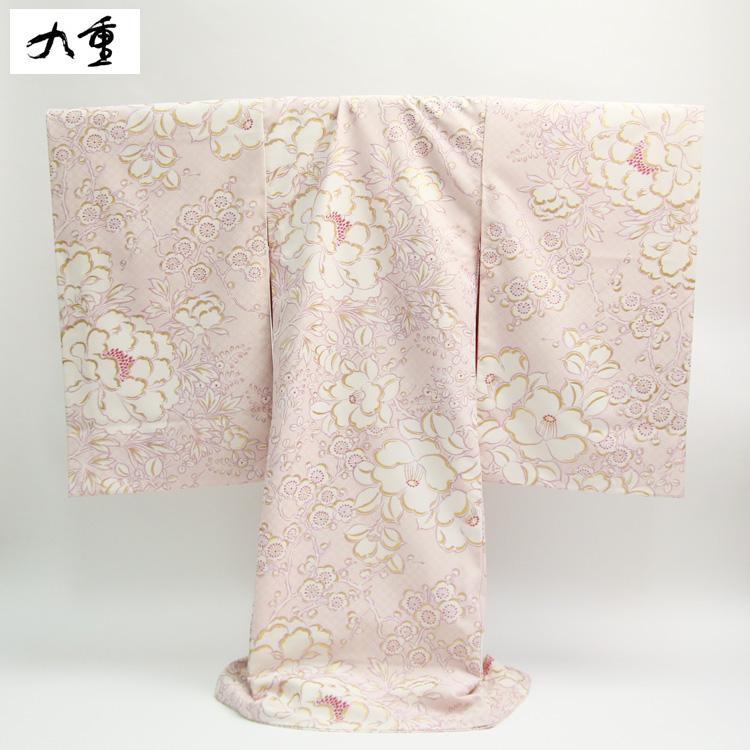 お宮参り 女の子 レンタル 着物 アウトレットセール 特集 衣装 祝着 初着 椿 梅 九重 産着 日本製 ピンク地に白の牡丹 メーカー直送 レンタル衣装