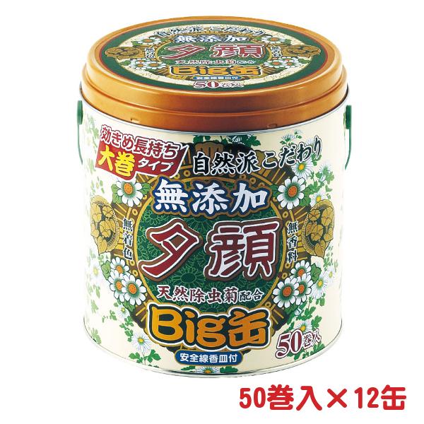 天然蚊とり線香 夕顔 Lサイズ 安全線香皿付き ビッグ缶 50巻/缶×12 - 紀陽除虫菊