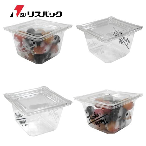 サラダ・フルーツ・麺類用パック クリーンカップ キューブ 13-80B Thanks + フタ 13TC 600セット- リスパック