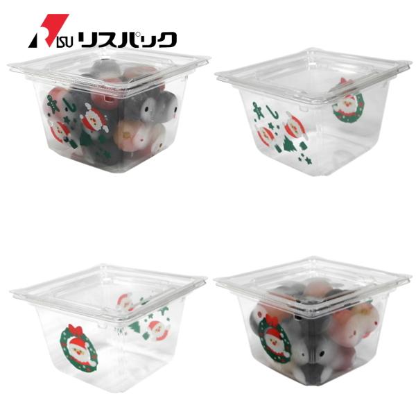サラダ・フルーツ・麺類用パック クリーンカップ キューブ 13-80B クリスマス + フタ 13TC 600セット- リスパック