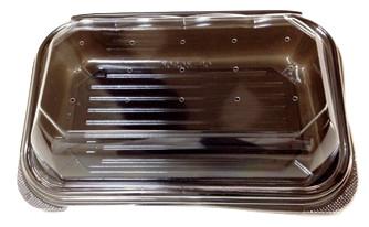 食品 青果 出荷 販売 ふた付 黒底 フードパック OP-3020K 外嵌合 穴有り 長辺19.9×短辺12.9×高さ5.6cm 800枚 - デンカポリマー
